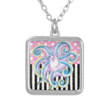 Beach Themed Artsy Octopus Pink Silver Plated Necklace