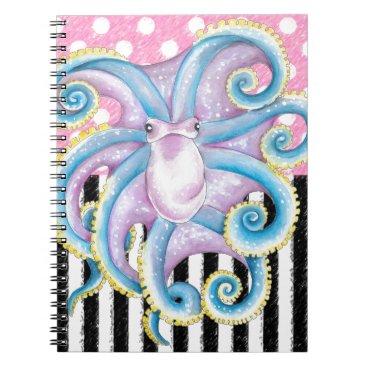 Beach Themed Artsy Octopus Pink Spiral Notebook