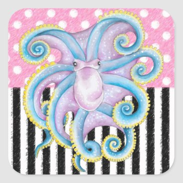 Beach Themed Artsy Octopus Pink Square Sticker