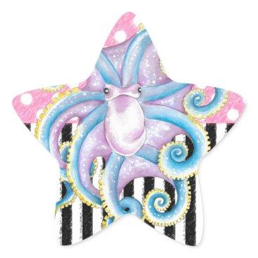 Beach Themed Artsy Octopus Pink Star Sticker