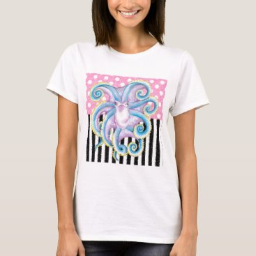 Beach Themed Artsy Octopus Pink T-Shirt