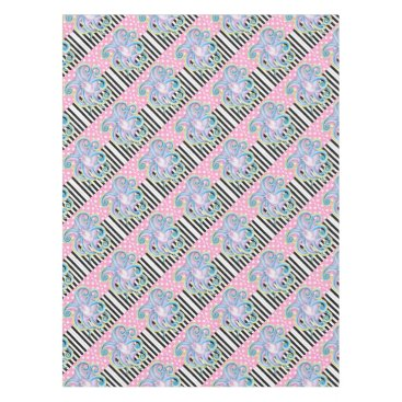 Beach Themed Artsy Octopus Pink Tablecloth