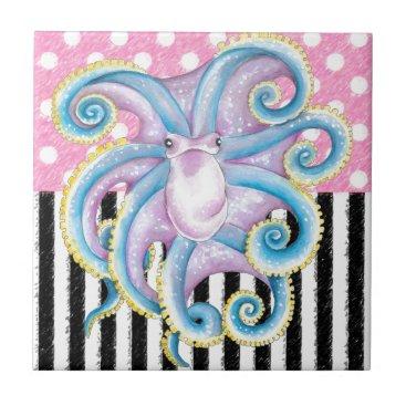 Beach Themed Artsy Octopus Pink Tile
