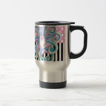 Beach Themed Artsy Octopus Pink Travel Mug