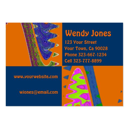 Artsy orange blue large business cards pack of 100 zazzle for Artsy business cards