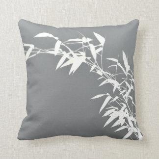 Artsy Oriental Zen Bamboo Shrub Gray & White Throw Pillow