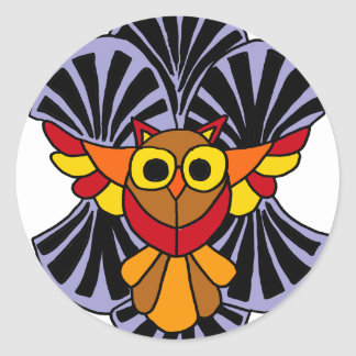 Artsy Owl in Flight Original Abstract Art Classic Round Sticker