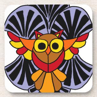 Artsy Owl in Flight Original Abstract Art Coaster
