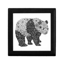 Artsy Panda Bear Wooden Jewelry Keepsake Box