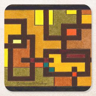 Artsy Paper Coasters - Brown, Orange, Tan Tiles