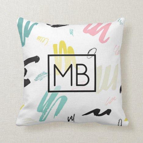 Artsy Pastel Pink, Blue Paintbrush Swirls Monogram Throw Pillow