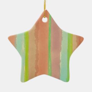 Artsy Pastel Watercolor Stripes Ceramic Ornament