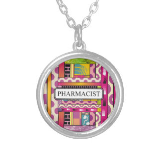 Artsy Pharmacist Gifts Silver Plated Necklace