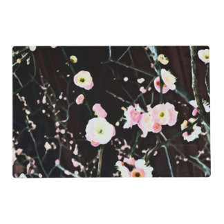 Artsy Pink Cherry Plum Blossoms on Black Placemat