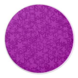 Artsy Purple Stars Ceramic Knob
