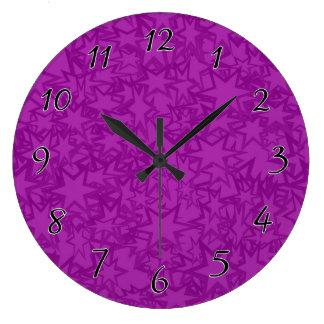 Artsy Purple Stars Large Clock