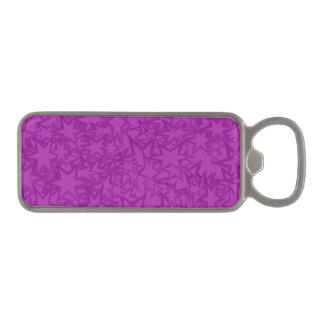 Artsy Purple Stars Magnetic Bottle Opener