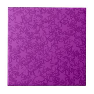 Artsy Purple Stars Small Square Tile
