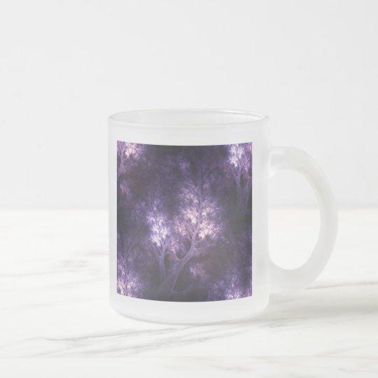 artsy_purple_trees frosted glass coffee mug