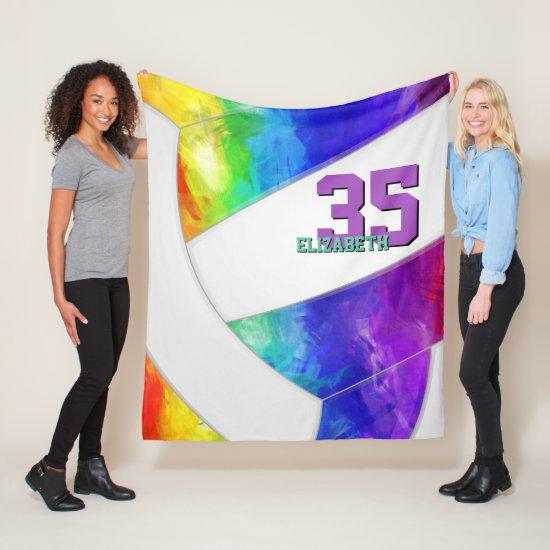 artsy rainbow gradient girls volleyball fleece blanket