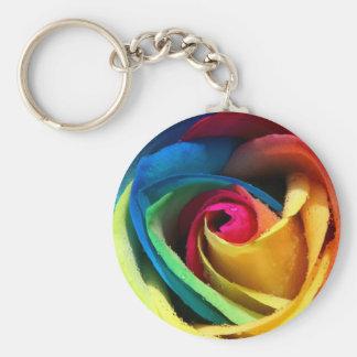 Artsy Rainbow Rose Keychain