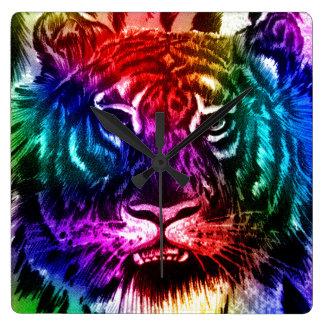 Artsy Rainbow Tiger Square Wall Clock
