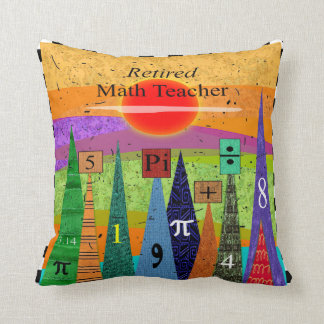 """Artsy Retired Math Teacher Pillow """"Numbers Forest"""""""