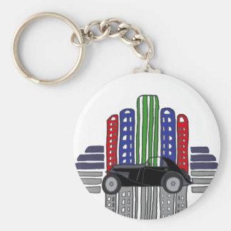 Artsy Retro Car and Buildings Keychain