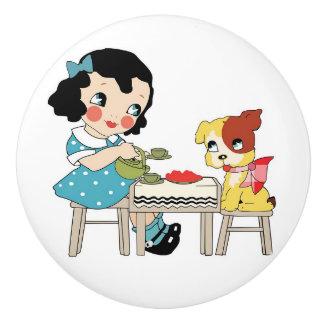Artsy Retro Cartoon Girl and Dog Knob Ceramic Knob
