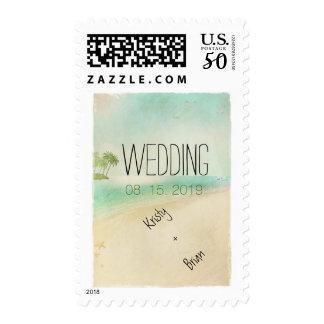 Artsy Retro Vintage Peaceful Beach Wedding Custom Postage