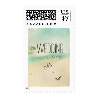 Artsy Retro Vintage Peaceful Beach Wedding Custom Stamp