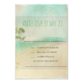 Artsy Retro Vintage Peaceful Beach Wedding RSVP Card