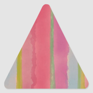Artsy Rose Watercolor Stripes Triangle Sticker