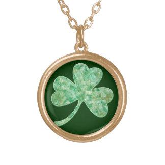 Artsy Shamrock for St Patricks Day Round Pendant Necklace