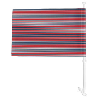 Artsy Stripes in Patriotic Red White and Blue Car Flag