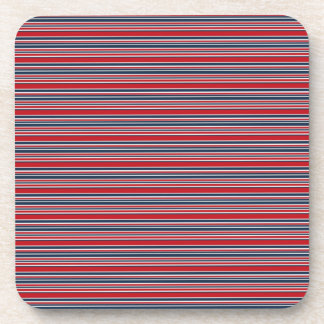 Artsy Stripes in Patriotic Red White and Blue Drink Coaster
