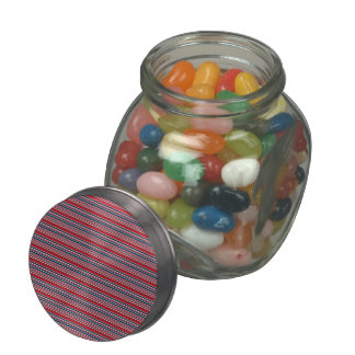 Artsy Stripes in Patriotic Red White and Blue Glass Candy Jar
