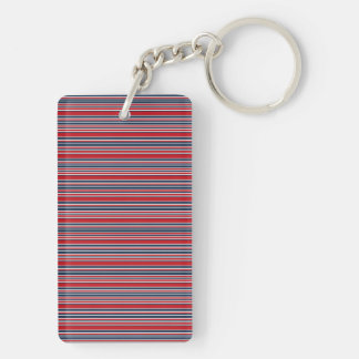 Artsy Stripes in Patriotic Red White and Blue Keychain