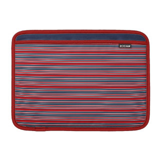 Artsy Stripes in Patriotic Red White and Blue MacBook Air Sleeve