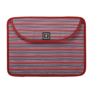 Artsy Stripes in Patriotic Red White and Blue MacBook Pro Sleeve