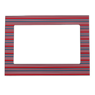 Artsy Stripes in Patriotic Red White and Blue Magnetic Frame