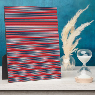 Artsy Stripes in Patriotic Red White and Blue Plaque