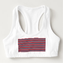 Artsy Stripes in Patriotic Red White and Blue Sports Bra