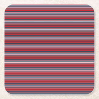 Artsy Stripes in Patriotic Red White and Blue Square Paper Coaster