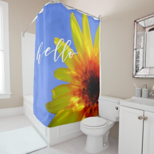 Artsy Sunflower Bold Bright Hello Sunshine Shower Curtain