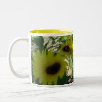 Artsy Sunflowers Two-Tone Coffee Mug