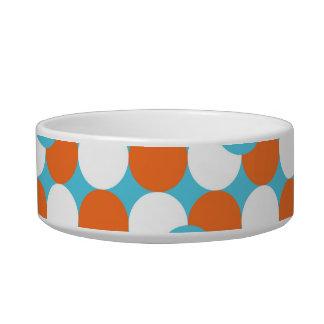Artsy Teal & Orange Circles Cat Bowls