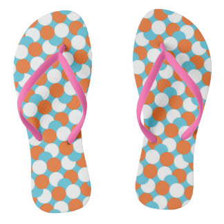 Artsy Teal & Orange Circles Flip Flops