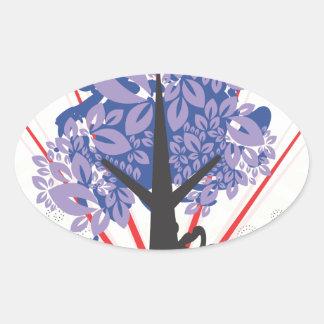 Artsy Tree Oval Sticker