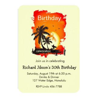 Artsy Tropical Beach Sunset Party Invitation